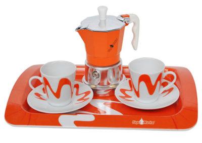 Set Top Moka  arancione/bianco