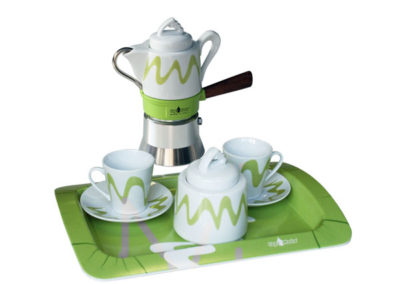 Set Top Moka verde/bianco
